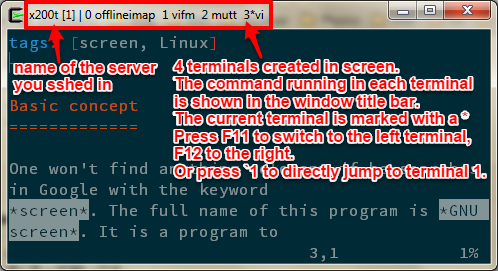 GNU screen with running commands shown in window title  bar