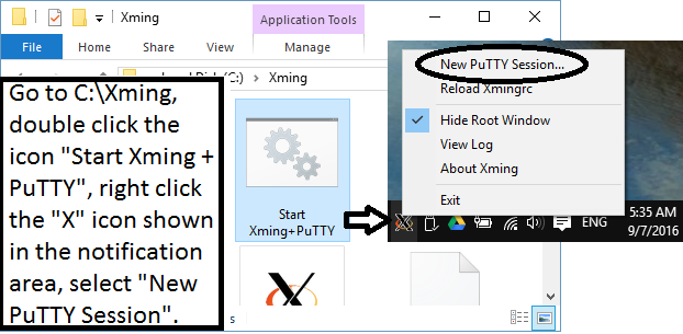 run Xming+PuTTY from the notification area