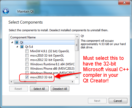 enable 32-bit msvc compiler in  Qt