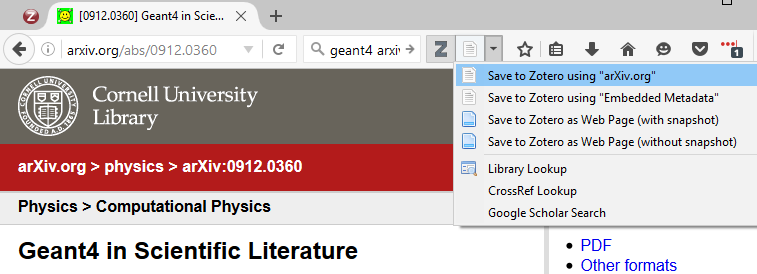 import arXiv article to zotero from firefox