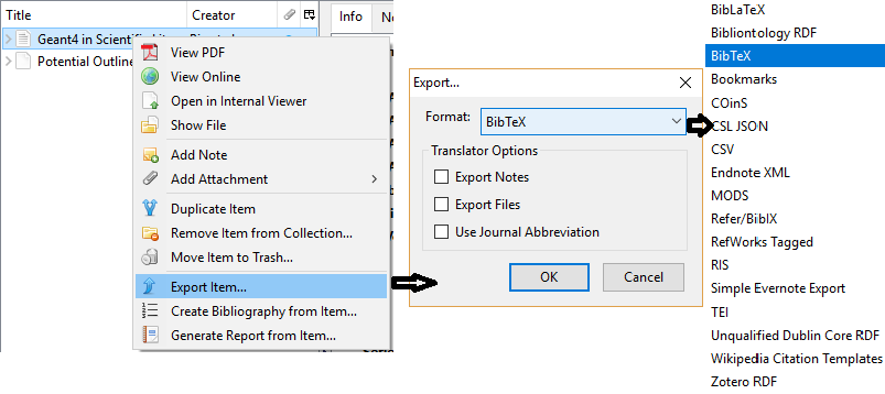 export reference in zotero to bibtex